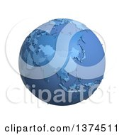 3d Blue Political Globe With Extruded Countries Centered On China On A White Background