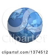 3d Blue Political Globe With Extruded Countries Centered On Europe On A White Background