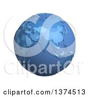 3d Blue Political Globe With Extruded Countries Centered On India On A White Background