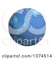 3d Blue Political Globe With Extruded Countries Centered On Japan On A White Background