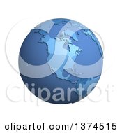 3d Blue Political Globe With Extruded Countries Centered On North America On A White Background