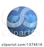 3d Blue Political Globe With Extruded Countries Centered On The North Pole On A White Background