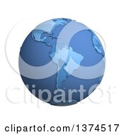 3d Blue Political Globe With Extruded Countries Centered On South America On A White Background