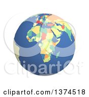3d Political Globe With Colored And Extruded Countries Centered On Africa On A White Background