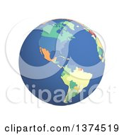 3d Political Globe With Colored And Extruded Countries Centered On The Americas On A White Background