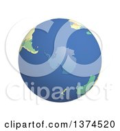 Clipart Of A 3d Political Globe With Colored And Extruded Countries Centered On Antarctica On A White Background Royalty Free Illustration