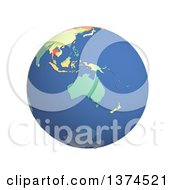 Clipart Of A 3d Political Globe With Colored And Extruded Countries Centered On Australia On A White Background Royalty Free Illustration