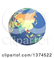 3d Political Globe With Colored And Extruded Countries Centered On China On A White Background