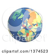 3d Political Globe With Colored And Extruded Countries Centered On Europe On A White Background
