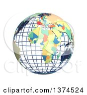 Clipart Of A 3d Political Wire Globe With Colored And Extruded Countries Centered On Africa On A White Background Royalty Free Illustration