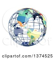 3d Political Wire Globe With Colored And Extruded Countries Centered On The Americas On A White Background