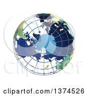 Clipart Of A 3d Political Wire Globe With Colored And Extruded Countries Centered On Antarctica On A White Background Royalty Free Illustration