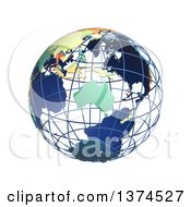 3d Political Wire Globe With Colored And Extruded Countries Centered On Australia On A White Background