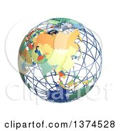 Clipart Of A 3d Political Wire Globe With Colored And Extruded Countries Centered On China On A White Background Royalty Free Illustration