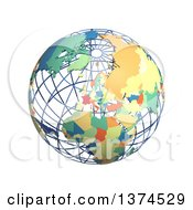 3d Political Wire Globe With Colored And Extruded Countries Centered On Europe On A White Background