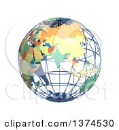 3d Political Wire Globe With Colored And Extruded Countries Centered On India On A White Background