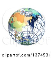 3d Political Wire Globe With Colored And Extruded Countries Centered On Japan On A White Background