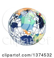 3d Political Wire Globe With Colored And Extruded Countries Centered On North America On A White Background