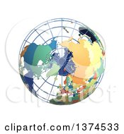 3d Political Wire Globe With Colored And Extruded Countries Centered On The North Pole On A White Background