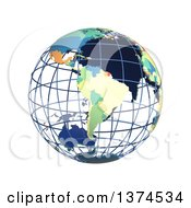 3d Political Wire Globe With Colored And Extruded Countries Centered On South America On A White Background