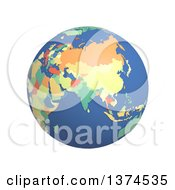 3d Political Globe With Colored And Extruded Countries Centered On India On A White Background