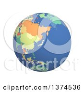 3d Political Globe With Colored And Extruded Countries Centered On Japan On A White Background