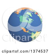 3d Political Globe With Colored And Extruded Countries Centered On North America On A White Background