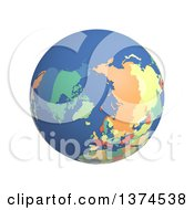 3d Political Globe With Colored And Extruded Countries Centered On The North Pole On A White Background