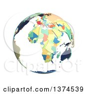 Political Globe With Colorful 3d Extruded Countries Centered On Africa On A White Background