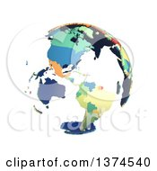 Political Globe With Colorful 3d Extruded Countries Centered On The Americas On A White Background