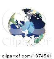 Political Globe With Colorful 3d Extruded Countries Centered On Antarctica On A White Background