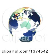 Clipart of a Political Globe with Colorful 3d Extruded Countries, Centered on Australia, on a White Background - Royalty Free Illustration by Michael Schmeling #COLLC1374542-0128