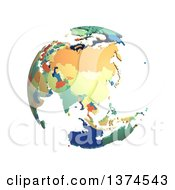Political Globe With Colorful 3d Extruded Countries Centered On China On A White Background
