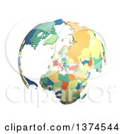 Political Globe With Colorful 3d Extruded Countries Centered On Europe On A White Background