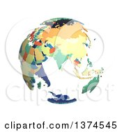 Political Globe With Colorful 3d Extruded Countries Centered On India On A White Background