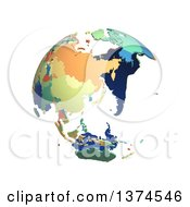Political Globe With Colorful 3d Extruded Countries Centered On Japan On A White Background