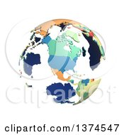 Political Globe With Colorful 3d Extruded Countries Centered On North America On A White Background