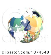 Political Globe With Colorful 3d Extruded Countries Centered On North Pole On A White Background