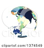 Political Globe With Colorful 3d Extruded Countries Centered On South America On A White Background