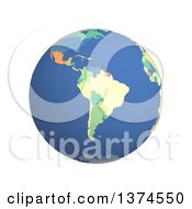 3d Political Globe With Colored And Extruded Countries Centered On The South America On A White Background