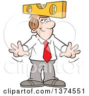 Cartoon Clipart Of A Level Headed White Business Man Balancing A Level On His Head Royalty Free Vector Illustration
