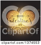 Clipart Of A Happy Valentines Day Greeting Over A Gold Sparkle Heart Burst And Flares On A Dark Background Royalty Free Vector Illustration