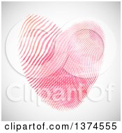 Clipart Of A Heart Made Of Fingerprints Over Shading Royalty Free Vector Illustration