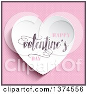 Clipart Of A 3d White Heart With Happy Valentines Day Text Over Pink Polka Dots Royalty Free Vector Illustration