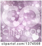 Clipart Of A Valentines Day Background Of Purple Floating Hearts Royalty Free Vector Illustration