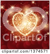 Clipart Of A Happy Valentines Day Greeting With A Gold Sparkle Firework Heart Over Red Bokeh Flares Royalty Free Vector Illustration