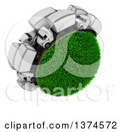 Clipart Of A 3d Busy Highway With Big Rig Trucks Around A Grassy Planet On White Royalty Free Illustration by KJ Pargeter