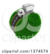 Clipart Of A 3d Highway With A Big Rig Truck Around A Grassy Planet On White Royalty Free Illustration