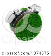Clipart Of A 3d Busy Highway With Big Rig Trucks Around A Grassy Planet On White Royalty Free Illustration