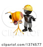 3d Black Man Construction Worker With A Cement Mixer On A White Background